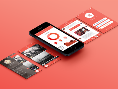 Fancy Mobile App UI KIT flat ios7 app mobile profile mockup list feed chat free video player photo