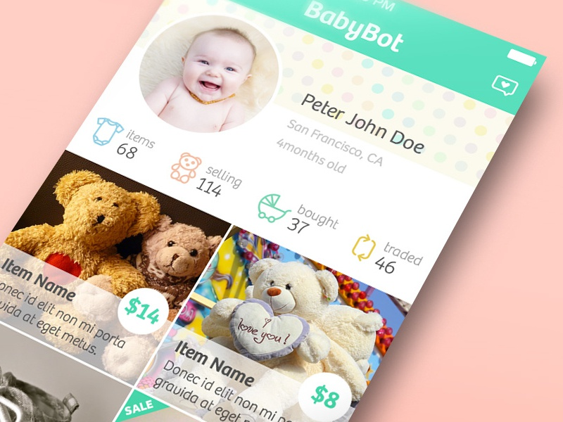 Babybot baby ios mobile app trade sell item estore toy soft clothes ios8