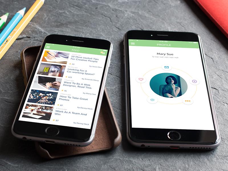 DiaMind Profile - Post List chat date social post list tech iphone 6 plus blog travel shop