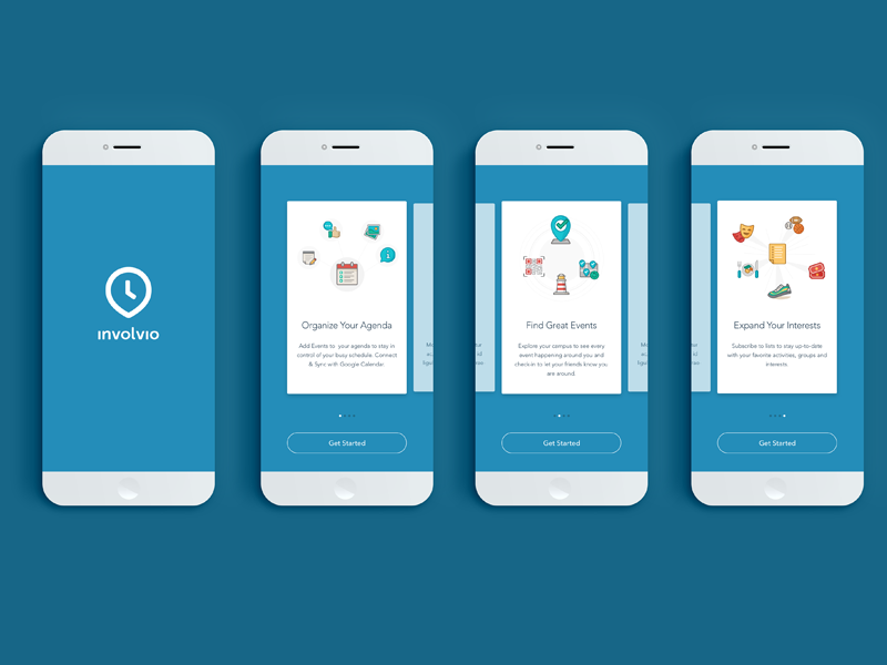 Involvio Onboarding welcome walkthrough onboarding cards sign up social mobile