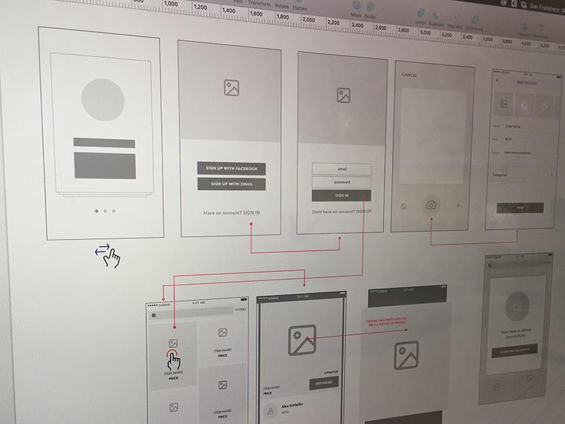 Wireframe camera gallery feed walkthrough shopping presentation design sketch ux ux map wireframe
