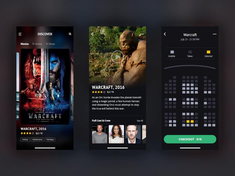 Showtimes Pro ticket imdb watchlist dark design reservation seat plan cinema movie showtime