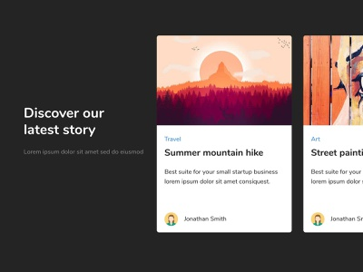 Story Card travel startup responsive products landing portfolio listing job insurance gym and fitness creative corporate charity business bootstrap agency