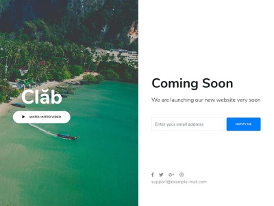Coming Soon travel startup responsive products landing portfolio listing job insurance gym and fitness creative corporate charity business bootstrap agency