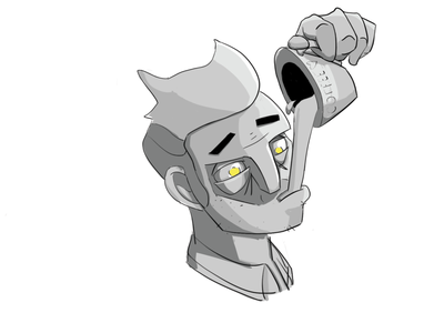 Melvin, the inventor. portrait art illustration coffee cup greyscale rendering concept art characterdesign