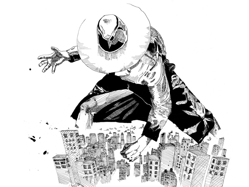 The Vinyl Hunter design illustration art pen and ink superhero comic hero vinyl record artwork