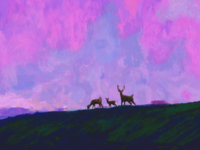 I'll Remain Under Our Antique Sky deer digital illustration digitalart digital painting photoshop illustraion family