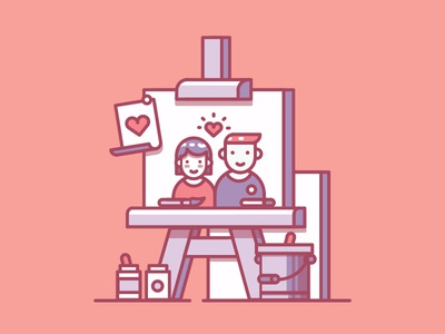 So Cute canvas paint art vector illustration valentines valentinesday