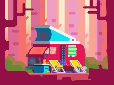 Camping forrest tree illustration vector van camping