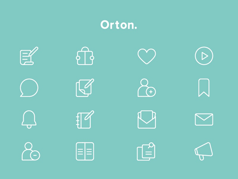 Orton Icons mail pen reading writing icons