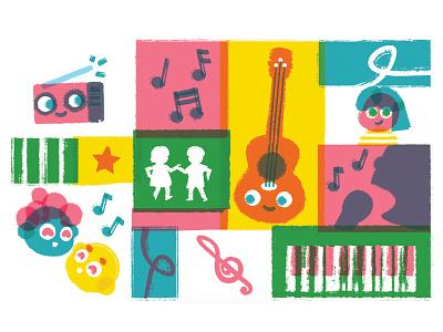 Kids Music Pattern dancing radio musicnotes singing vector music kids pattern