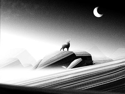 Lookout moon landscape photoshop illustration deer