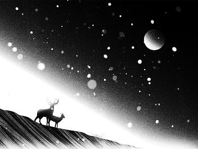 Among Fields Of Crystal style frame animation photoshop illistration