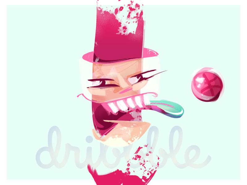 Hello dribbble head for fun hello dribble illustration drawing design