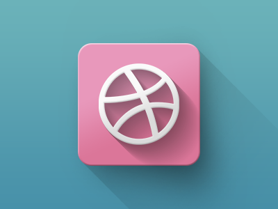 Dribbble icon icon flat long shadow minimal realistic