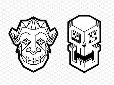 New stickers soon! streetart urbanart isometric stickers decals chimp skull
