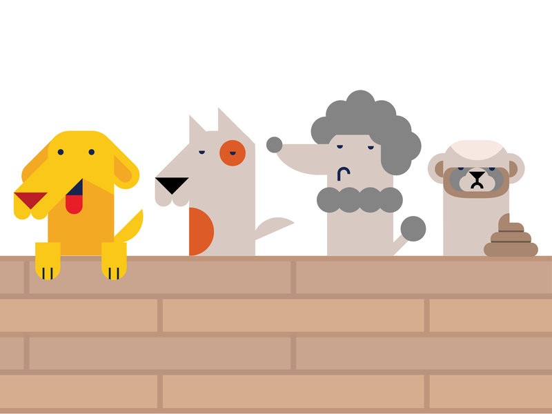 Dogs on a fence geometry solid color dogs vector illustration flat design minimalism