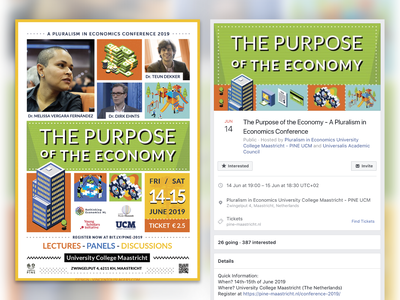 The Purpose of the Economy Conference - Poster and Social Media minimalism flat design banner ad poster economy conference economics