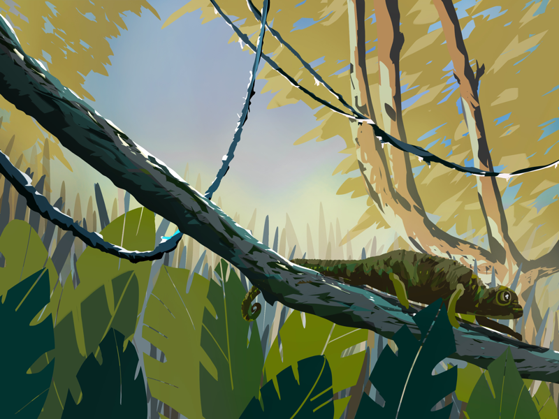 Green painting art landscape trees illustration chameleon illustrazione