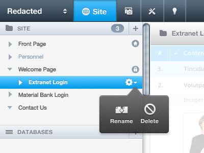 Header & Sidebar gui ui web menu helvetica sidebar header web app web ui cms stage crasman