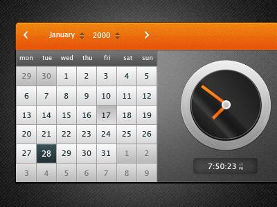 Date & Time datepicker date time ui gui clock calendar dark orange web ui