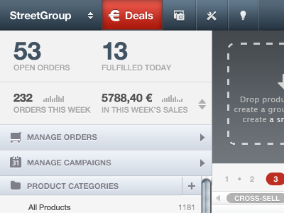 Statistics statistics analytics graph sparkline ui gui web ui dashboard admin store webstore order sales helvetica header menu sidebar web app