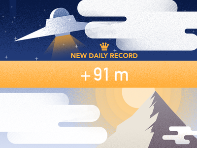 New record: altitude gained space sky vector illustration clouds mountain ufo app ios retro