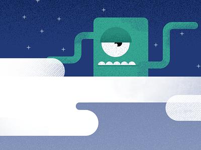 Tentacle Alien app ios illustration alien space cloud tentacle cyclops green