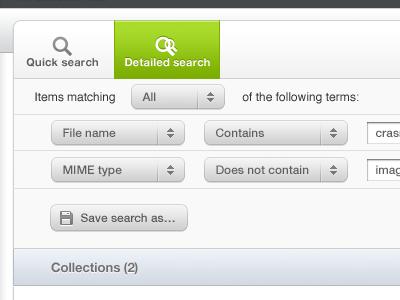 Detailed Search advanced search filter image bank material bank crasman crasman studio web app button dropdown popup pop-over find