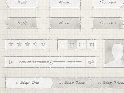 Drawing Board UI Kit sketch drawing brown paper pencil menu selector player