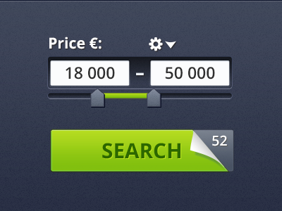 Price Range web ui find search price price range slider range select call to action green blue curl inset dark