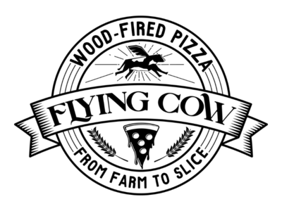 Flying Cow Wood-Fire Pizza Badge Logo