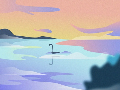 Loch Ness Monster vector illustration illustration art landscape illustration landscape vector vectorartist vector art vectorart design sketches photoshop illustrator illustration grain gradient art