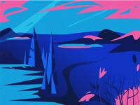 Blue-pink landscape