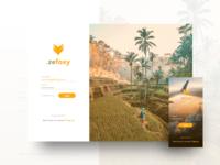 Zefoxy login page web and app travel design fox orange android ios app web page login ui ux