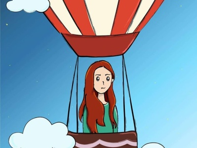 Girl on Hot Air Ballon cartoon illustration childrens book characterdesign vector art illustrator digital art cartoon digital illustration illustration