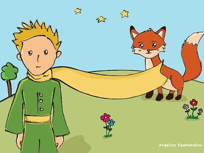 The Little Prince illustration fox digital art the little prince cartoon illustration digital illustration
