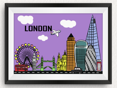 London Skyline vector digital illustration poster art skylines london illustration digital art