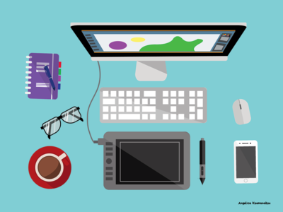 Workspace wacom tablet mac vector design digital illustration digital art flat illustration