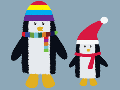 Penguins digital cute animals cartoon illustration