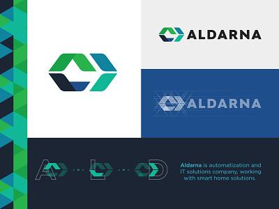 Aldarna tetragon brand brandidentity hexagon letter smarthome coding it