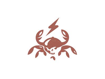 CrabMen lobster bolt skull seafood sea crab design illustration branding brand logotype logo