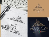 Little Italy stroke vector restaurant sketches branding brand logo olive vine deli italy food cheese