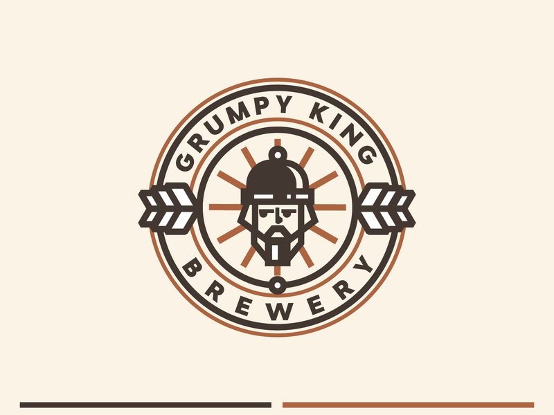 Grumpy King king logo crown branding logotype logo round label icon face vector stroke brewing brewery beer king