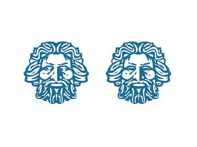 Odyssey head logo greek beard hairstyle branding king design icon illustration vector logo head
