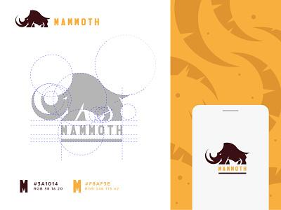 Mammoth brandbook design elephant logo elephant mamoth africa lines sketch icon vector branding logo