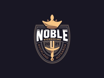 Noble Kickboxing royal knight kickboxing boxing muythai newzealand mascot gym sport e-sport emblem shield sword illustration crown branding logo