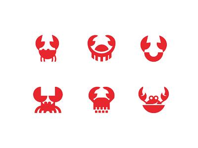 Crab sketches food cafe design illustration icon shellfish crayfish lobster restaurant seafood animal vector branding logo crab