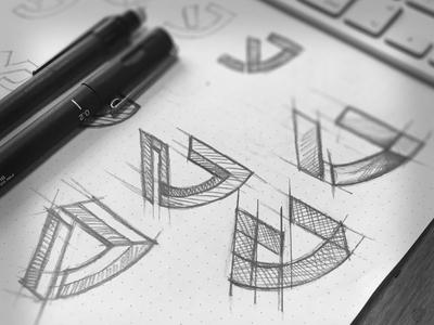Logo skeching idea monogram idea skech