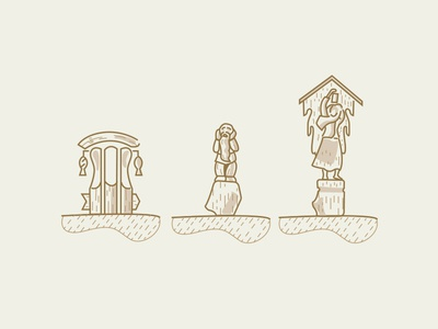 Wooden sculpture icons sculptures stroke line wooden icon icons sculpture wood